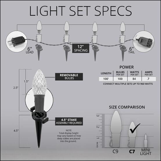 "OptiCore C7 LED Walkway Lights, Amber / Purple, 4.5"" Stakes, 100'"