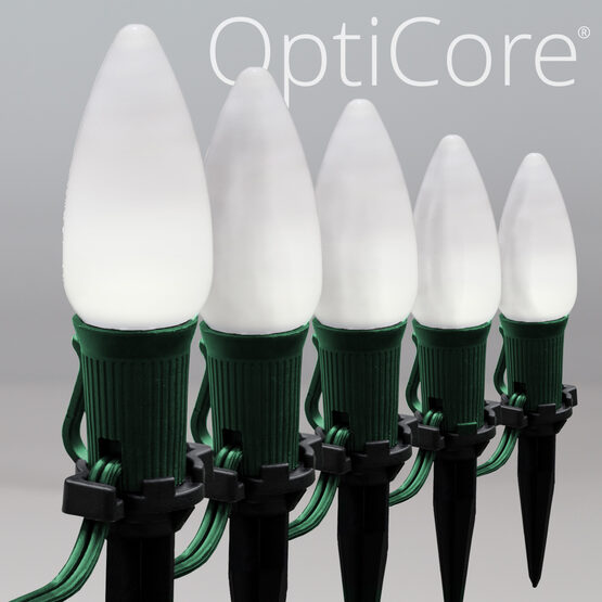 "Smooth OptiCore C9 LED Walkway Lights, Cool White, 4.5"" Stakes, 25'"