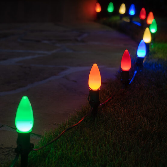 "Smooth OptiCore TM C9 LED Walkway Lights, Multicolor, 4.5"" Stakes, 25'"