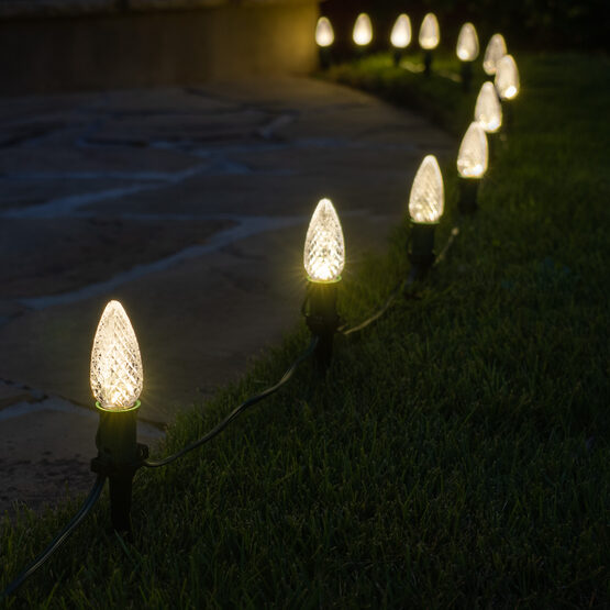 "OptiCore C9 LED Walkway Lights, Warm White, 4.5"" Stakes, 25'"
