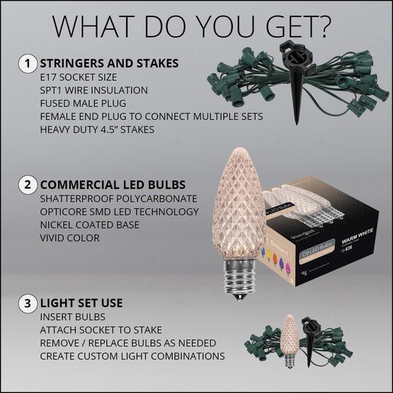 "OptiCore C9 LED Walkway Lights, Warm White, 4.5"" Stakes, 100'"