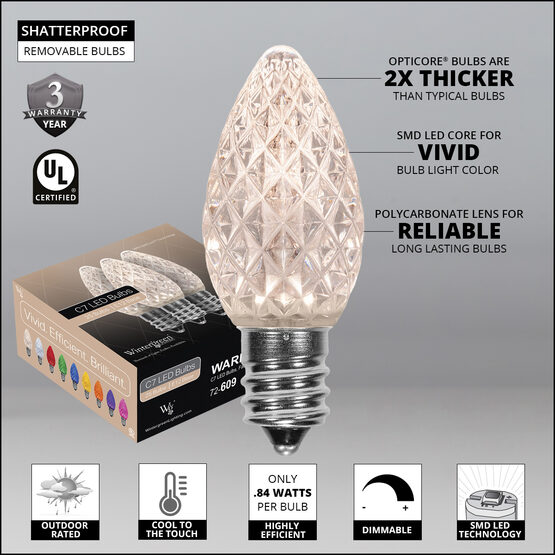 OptiCore C7 Commercial LED String Lights, Warm White, 25 Lights, 25'
