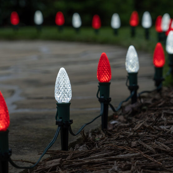 """OptiCore C9 LED Walkway Lights, Cool White / Red, 4.5"""" Stakes, 50'"""