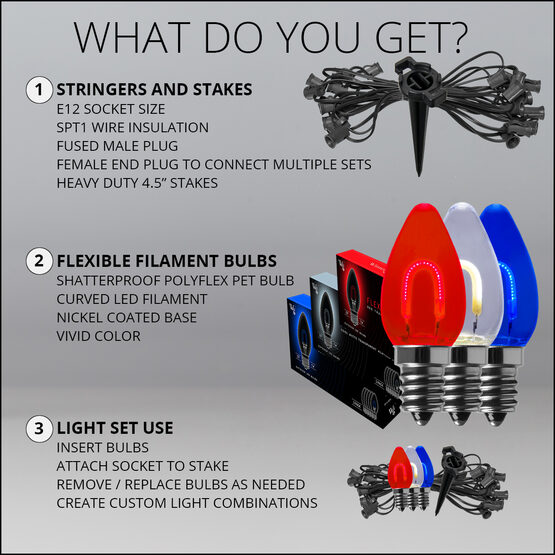"""FlexFilament TM C7 Shatterproof LED Walkway Lights, Red, White and Blue, 4.5"""" Stakes"""