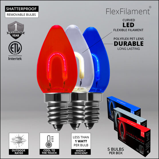 """FlexFilament TM C7 Shatterproof LED Walkway Lights, Red / White / Blue, 4.5"""" Stakes, 15'"""