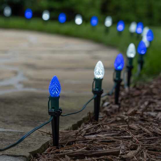 "OptiCore C7 LED Walkway Lights, Blue / Cool White, 4.5"" Stakes, 50'"