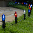 """FlexFilament C9 Shatterproof LED Walkway Lights, Red / White / Blue, 4.5"""" Stakes, 15'"""
