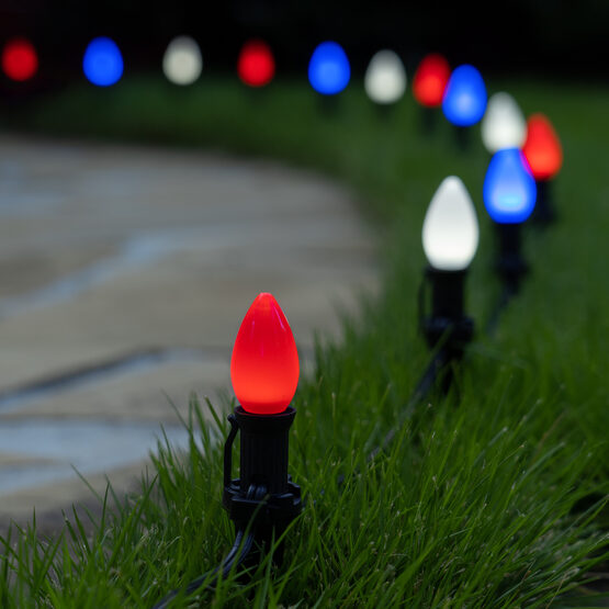 "Smooth OptiCore C7 LED Walkway Lights, Red / White / Blue, 4.5"" Stakes, 75'"