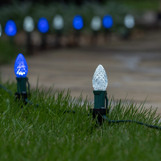 """OptiCore C7 LED Walkway Lights, Blue / Cool White, 4.5"""" Stakes, 50'"""