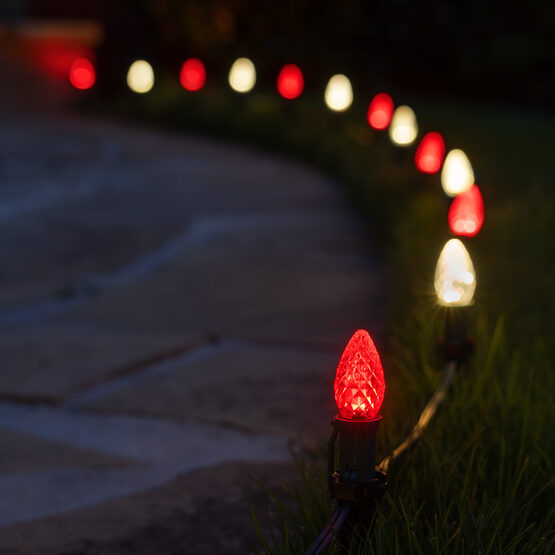 """OptiCore C7 LED Walkway Lights, Red / Warm White, 4.5"""" Stakes, 50'"""