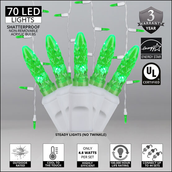 70 M5 LED Icicle Lights, Green, White Wire