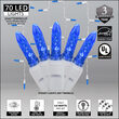 70 M5 LED Icicle Lights, Blue, White Wire