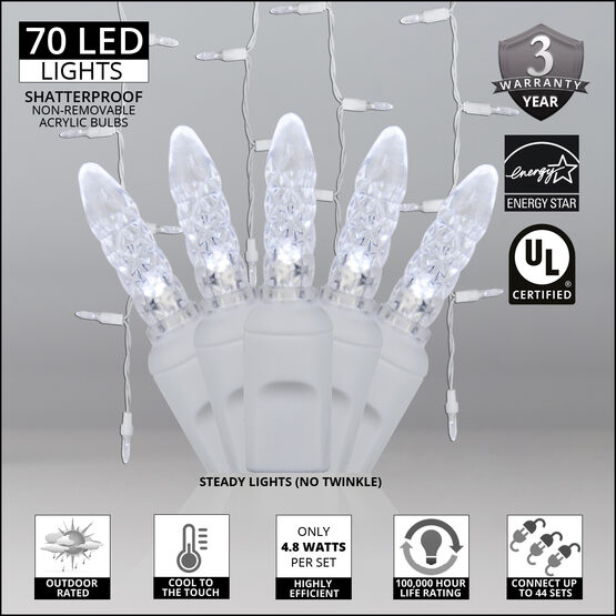 70 M5 LED Icicle Lights, Cool White, White Wire