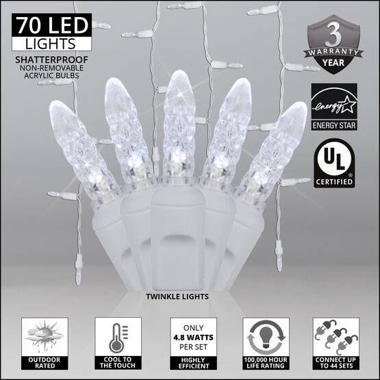 70 M5 LED Icicle Lights, Cool White Twinkle, White Wire