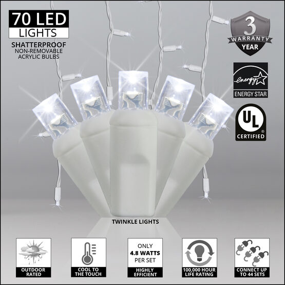 70 5mm LED Icicle Lights, Cool White Twinkle, White Wire