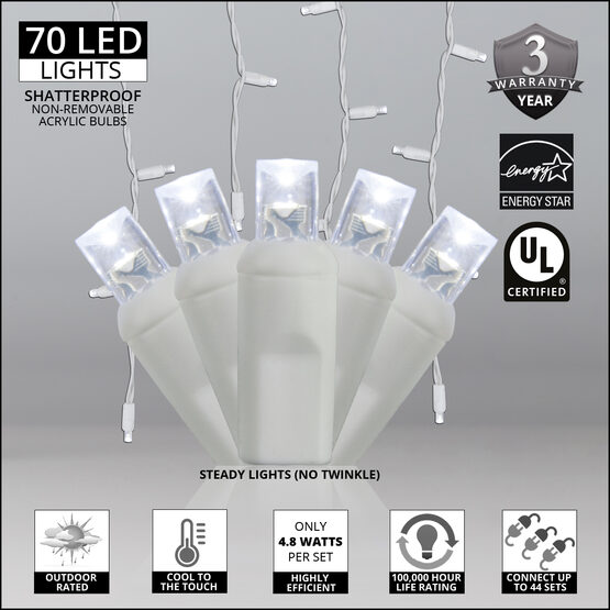 70 5mm LED Icicle Lights, Cool White, White Wire