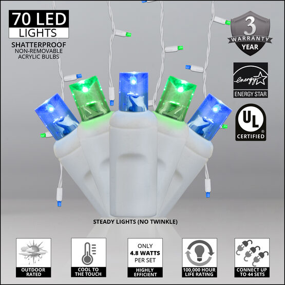 70 5mm LED Icicle Lights, Blue/Green, White Wire