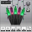 150 Halloween Icicle Lights, Purple/Green, Black Wire