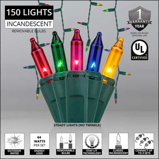 150 Icicle Lights, Multicolor, Green Wire