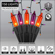 150 Halloween Icicle Lights, Purple/Orange, Black Wire