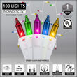 100 Icicle Lights, Multicolor, White Wire