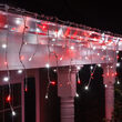70 5mm LED Icicle Lights, Red/Cool White, White Wire