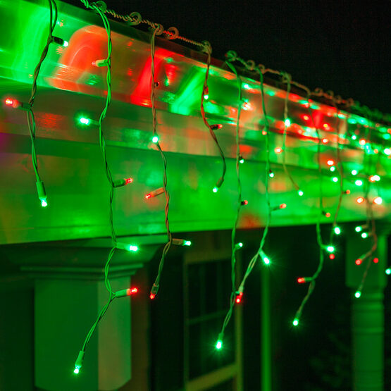 70 5mm LED Icicle Lights, Red/Green, White Wire