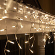 70 M5 LED Icicle Lights, Warm White Twinkle, White Wire