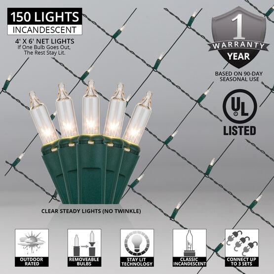4' x 6' Net Lights, Clear, Green Wire