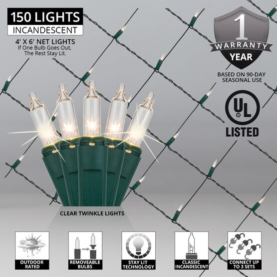 4' x 6' Net Lights, Clear Twinkle, Green Wire