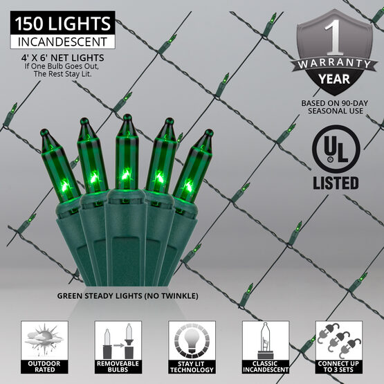 4' x 6' Net Lights, Green, Green Wire