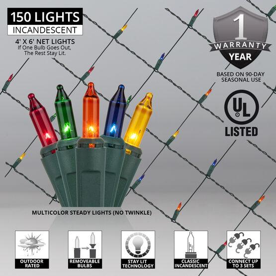 4' x 6' Net Lights, Multicolor, Green Wire