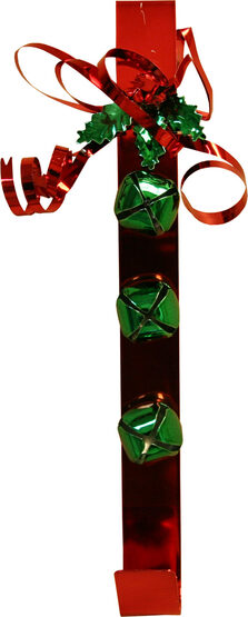 "15"" Metal Wreath Hanger with Bow and Green Bells"