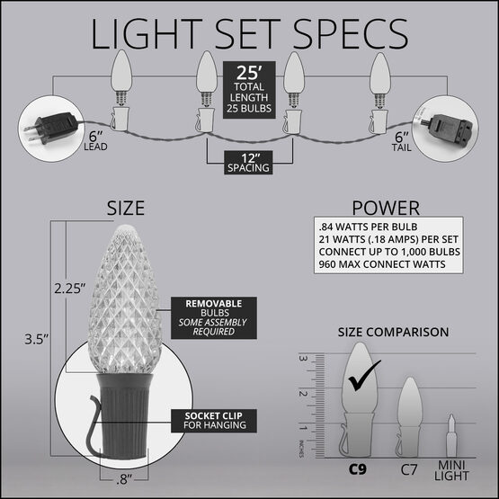OptiCore C9 Commercial LED String Lights, Gold, 25 Lights, 25'