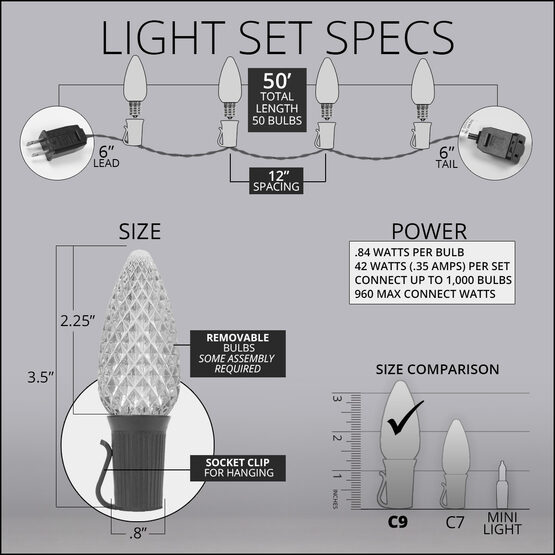 OptiCore C9 Commercial LED String Lights, Warm White, 50 Lights, 50'