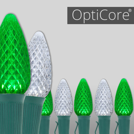 OptiCore C9 Commercial LED String Lights, Cool White / Green, 50 Lights, 50'