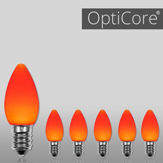 C7 Smooth OptiCore LED Light Bulbs, Amber / Orange