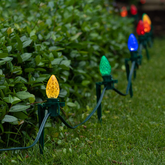 """OptiCore C7 LED Walkway Lights, Multicolor, 7.5"""" Stakes, 100'"""