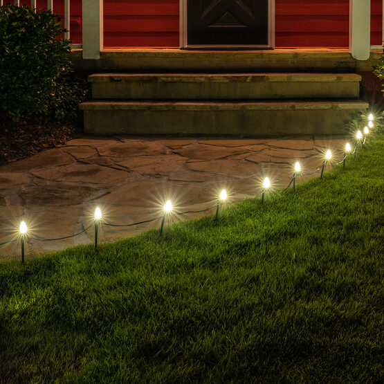 "OptiCore C7 LED Walkway Lights, Warm White, 7.5"" Stakes, 100'"