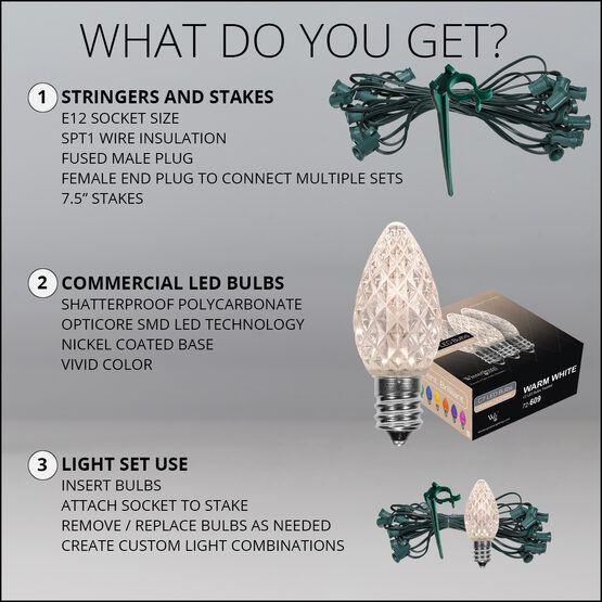 "OptiCore C7 LED Walkway Lights, Warm White, 7.5"" Stakes, 100'"