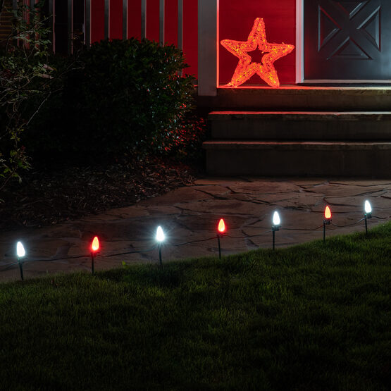 "OptiCore C7 LED Walkway Lights, Cool White / Red, 7.5"" Stakes, 100'"