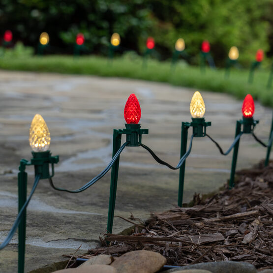 """OptiCore C7 LED Walkway Lights, Red / Warm White, 7.5"""" Stakes, 100'"""