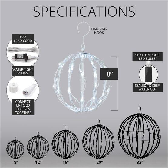 """8"""" Light Ball, Fold Flat White Frame, Cool White LED"""