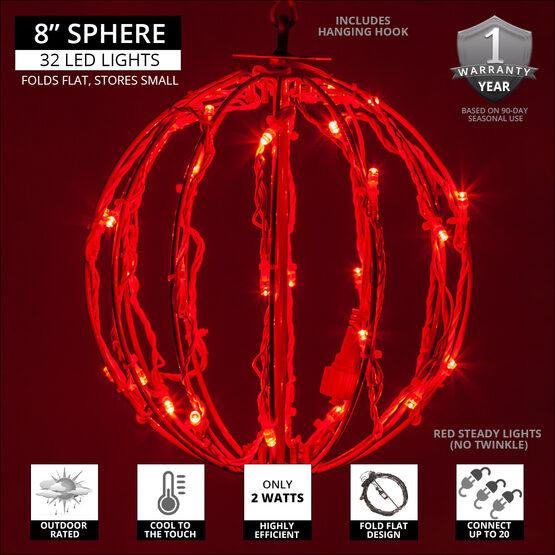 """8"""" Light Ball, Fold Flat Red Frame, Red LED"""