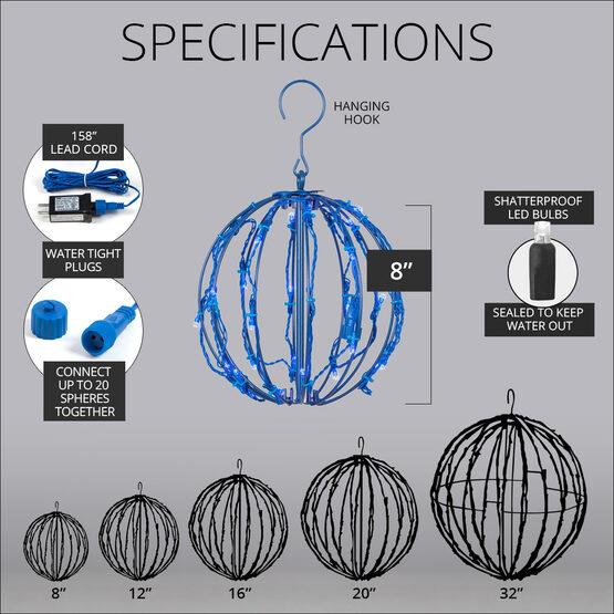 "8"" Light Ball, Fold Flat Blue Frame, Blue LED"
