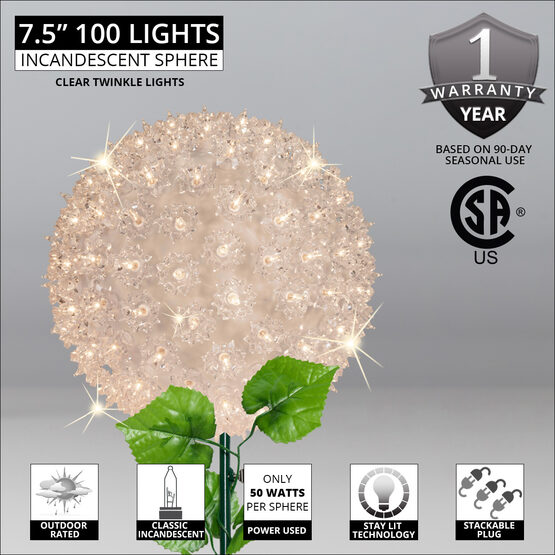 "7.5"" Light Sphere Stake, Twinkle Clear"