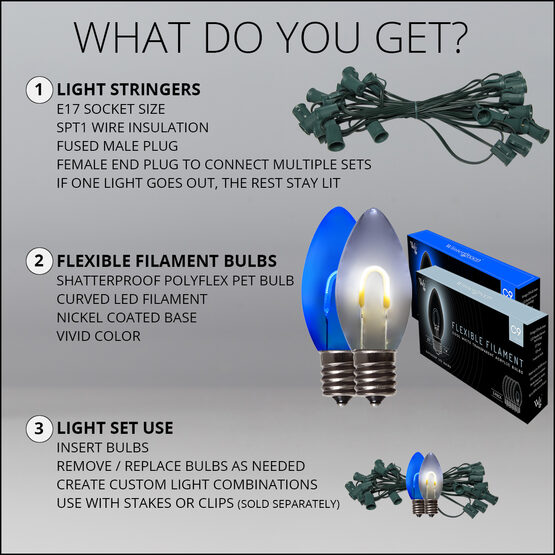 FlexFilament C9 Commercial Shatterproof Vintage LED String Lights, Blue / Cool White, 50 Lights, 50'