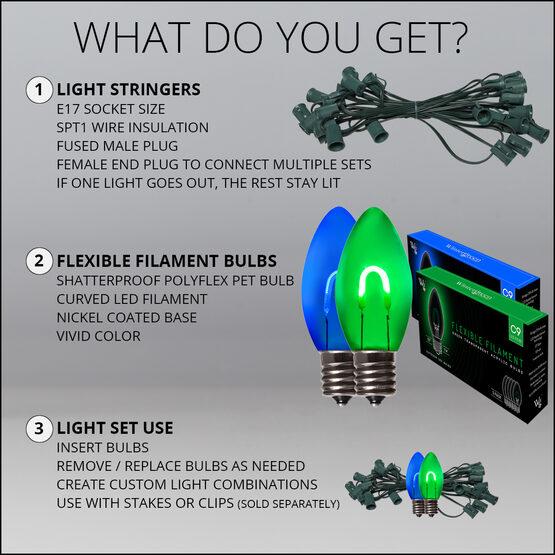 FlexFilament C9 Commercial Shatterproof Vintage LED String Lights, Blue / Green, 50 Lights, 50'