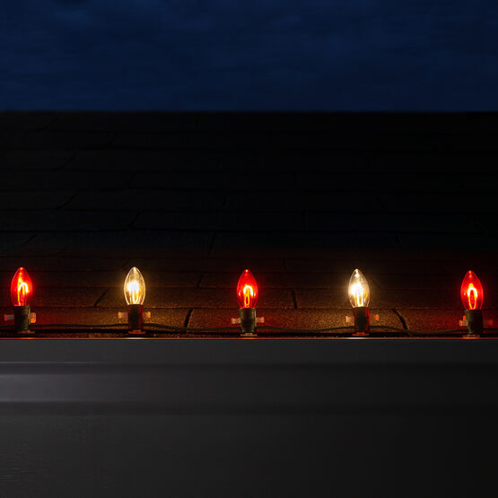 FlexFilament C9 Commercial Shatterproof Vintage LED String Lights, Red / Warm White, 50 Lights, 50'