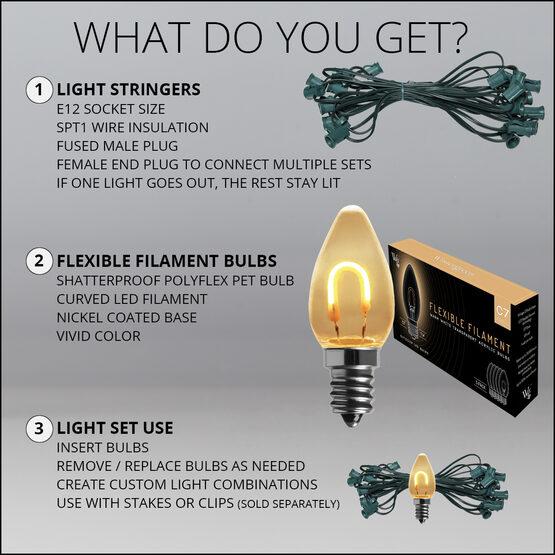 FlexFilament C7 Commercial Shatterproof Vintage LED String Lights, Warm White, 25 Lights, 25'